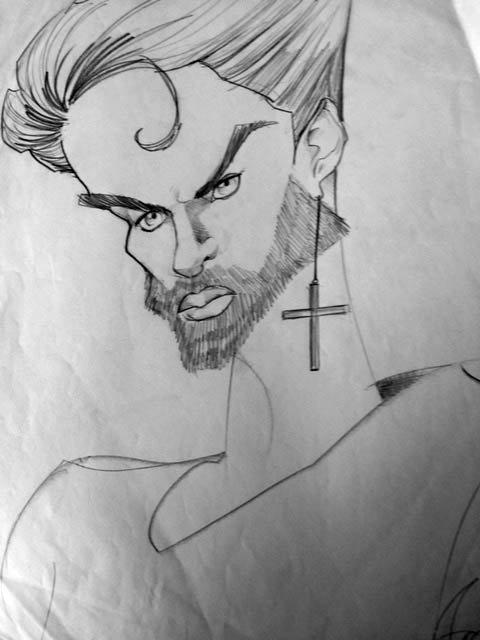 "George Michael ""Faith"" caricature"