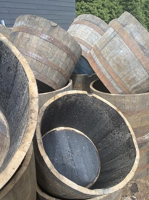 Oak half barrel planter x 2