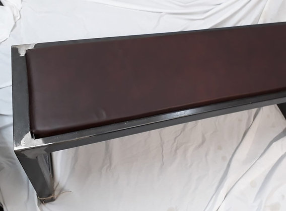 Substantial Steel & Leather Bench