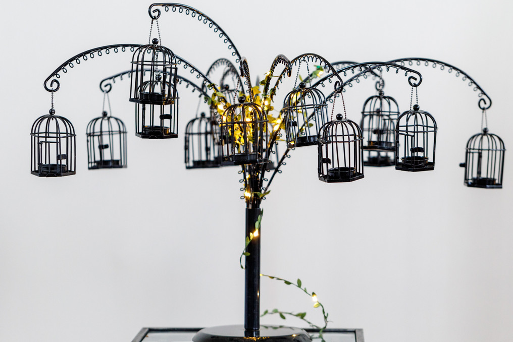 Wishing tree, black or white, comes with matching box containing notepaper, pens and ties for guests to write good wishes or memories.  $25