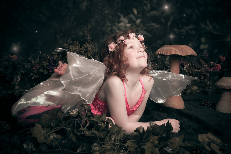 Enchanted Fairies photo shoot little girl wings and flower headband