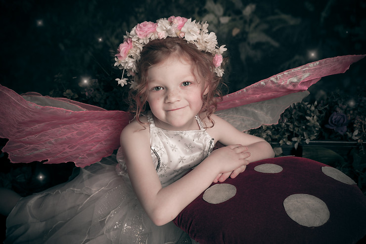 Enchanted Fairy photoshoot little girl wings and flower crown