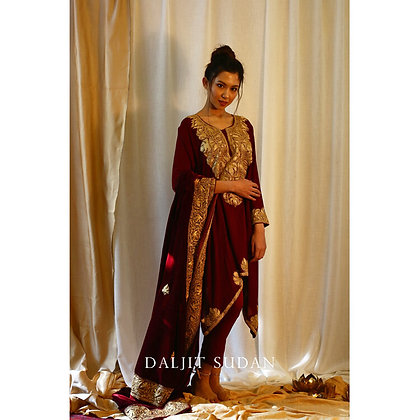 Maroon Phiran Set with Tilla Embroidery II