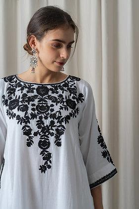 White Muslin Phiran with Black Aari Embroidery