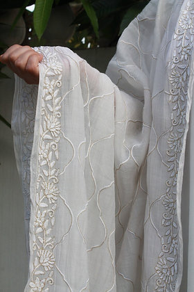 White Muslin Phiran with White Aari and Tilla Embroidery