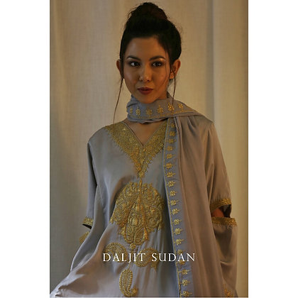 Light Grey Phiran set with Tilla Embroidery