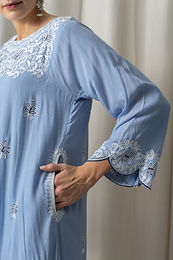 Blue Muslin Phiran with Blue Aari Embroidery
