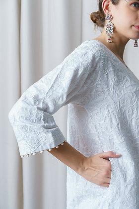 White Phiran with Aari Embroidery