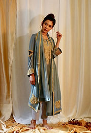 Blue Grey Phiran Set with Tilla Embroidery 1