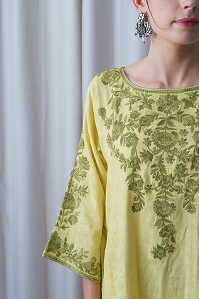 Yellow Muslin Phiran with Olive Aari Embroidery