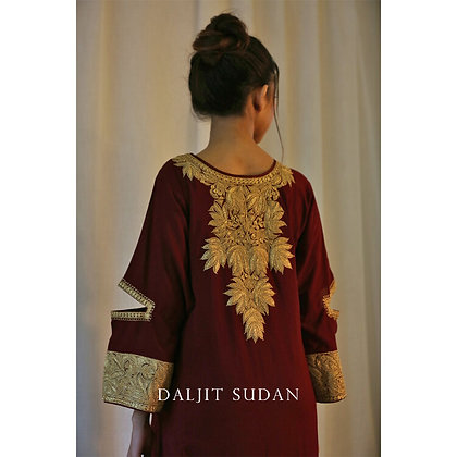 Maroon Phiran Set with Tilla Embroidery I