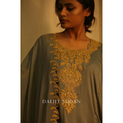 Blue Grey Phiran Set with Tilla Embroidery II