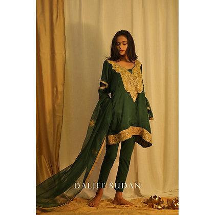 Emerald Green Phiran Set with Tilla Embroidery