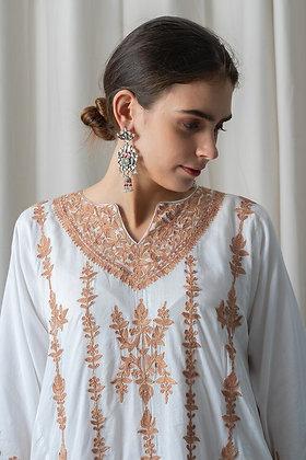 White Muslin Phiran with Fawn Aari Embroidery