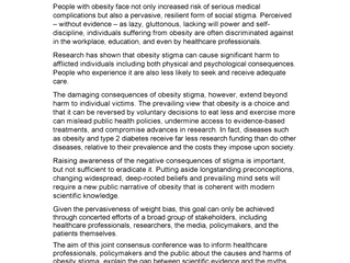 "SASSO is pleased to endorse the  ""WEIGHT-BIAS AND STIGMA OF OBESITY: CAUSES, CONSEQUENCES AND A CALL"