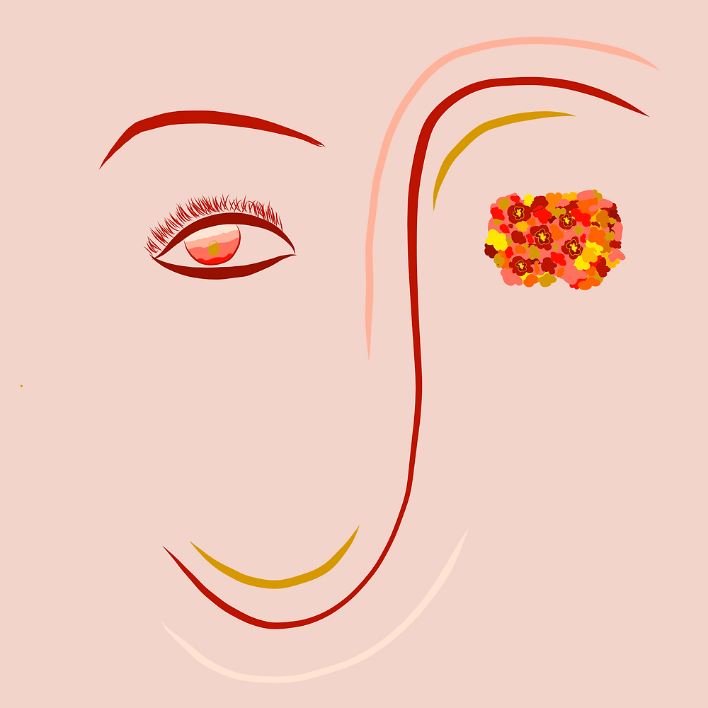 Abstract illustration, girl with red eyebrows and warm hues in her eyes