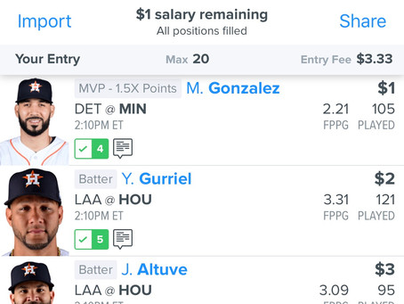 8/25 FanDuel MLB 3 Man Lineup