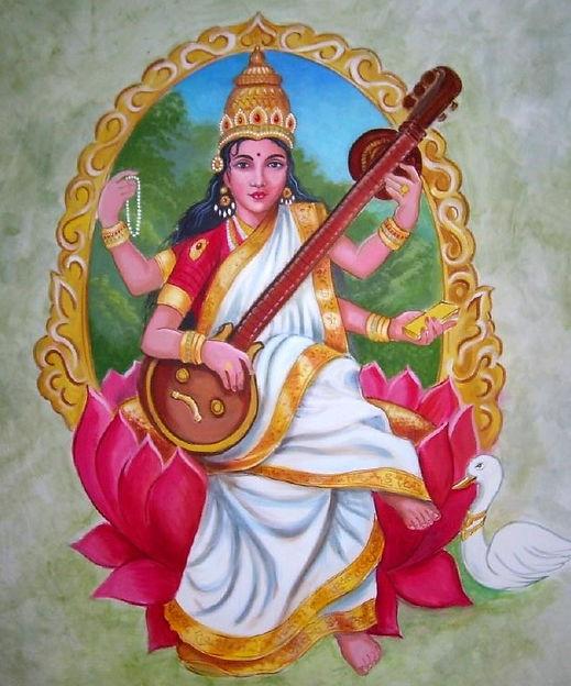Mural of Saraswati the Goddess of Art, Literature, Music, & Knowledge