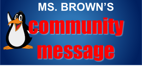 Community Message from Principal Stacey Brown
