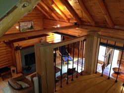 living room from cabin loft
