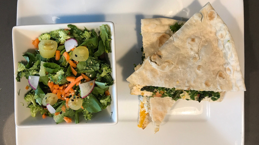 Spinach salad and veggie quesadilla