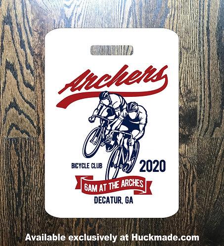6am archers, Huckmade, bike tag, bicycle tag, luggage tag, bicycle club, Atlanta bike, ATL bike