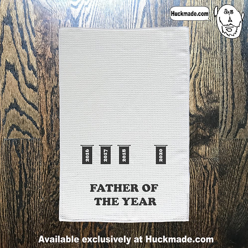 Father, fathers day, dad, daddy, dad of the year, best dad, towel, kitchen towel, hand towel. huckmade
