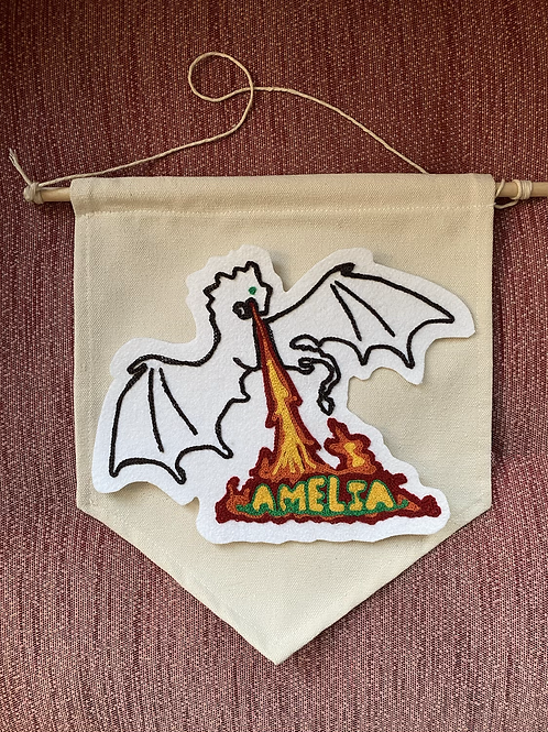 """Dragon Fire Name Patch: Custom Chainstitch 11"""" Banner"""
