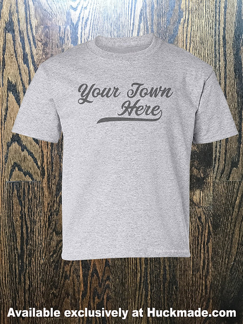 Your Town Here Varsity Banner: Adult T-Shirt