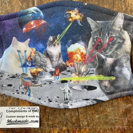 """Custom """"Laser Cat"""" Illustration masks"""