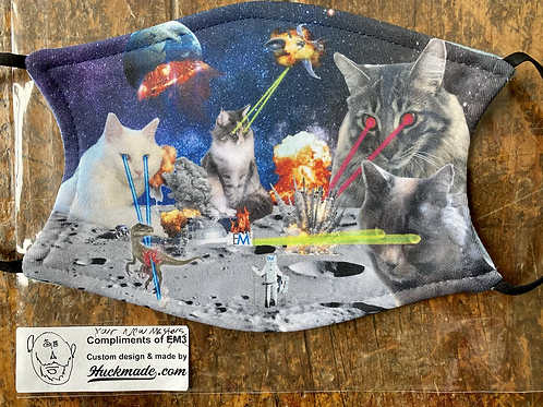 Custom mask for EM3 featuring their Moon Base under attack by laser cats with no mercy (and a Raptor, because why not).