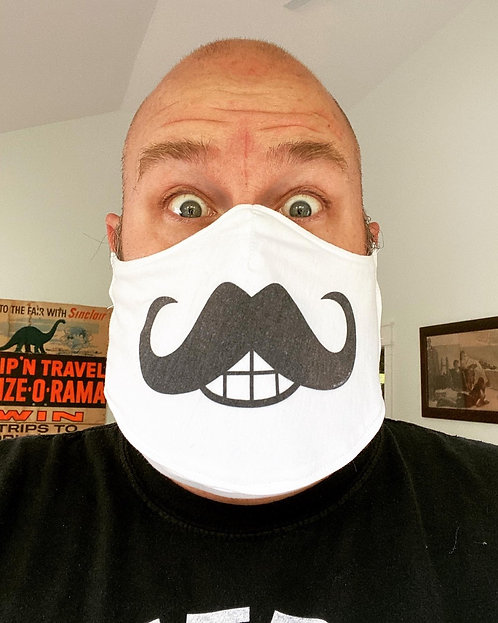 Custom Stache fitted with beard pocket: Handmade Face mask