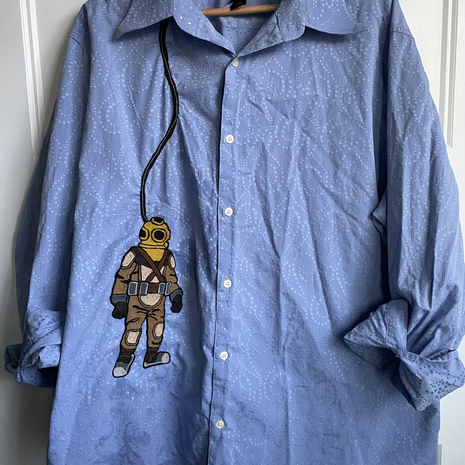 """""""Diver"""" direct to shirt embroidery"""