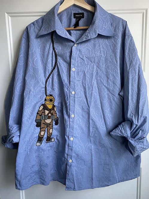 Custom Shirt, diver, deep sea, deep sea diver, chainstitch, undersea, huckmade
