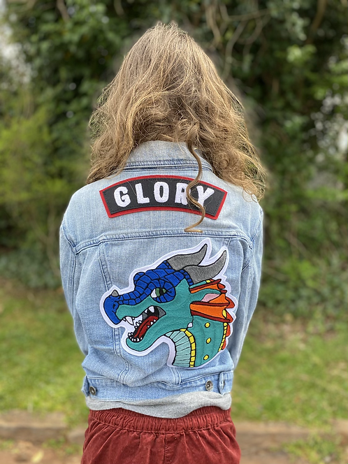 Custom Jacket, Jacket, Jean Jacket, chainstitch, huckmade, Glory, wings of fire, dragon