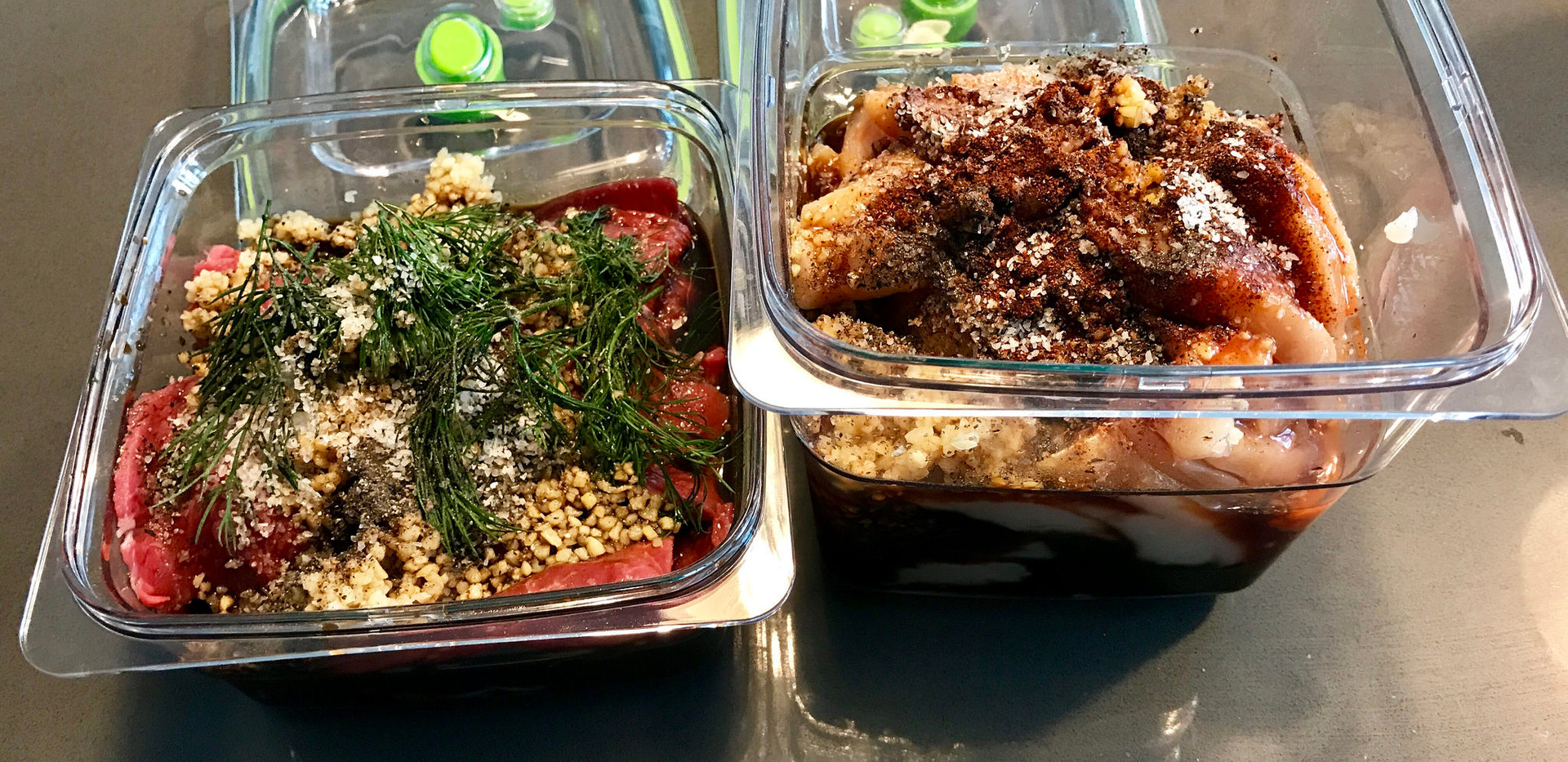 Marinated beef and chicken