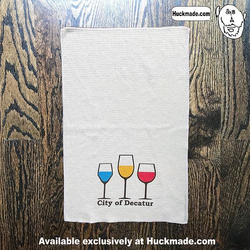 Decatur wine, decatur, wine, wine festival, hand towel, dish towel, kitchen towel, towel, huckmade