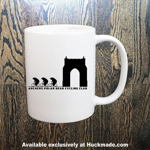 6am archers, Huckmade, bike mug, bicycle mug, coffee mug, bicycle club, Atlanta bike, Polar Bear Club