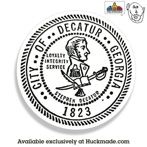 City of decatur, decatur, decatur ga, sticker, decal, magnet, indiecatur, huckmade, stephen decatur