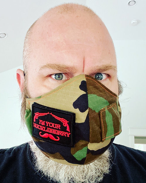 Custom camo fitted with Velco patch: Handmade Face mask