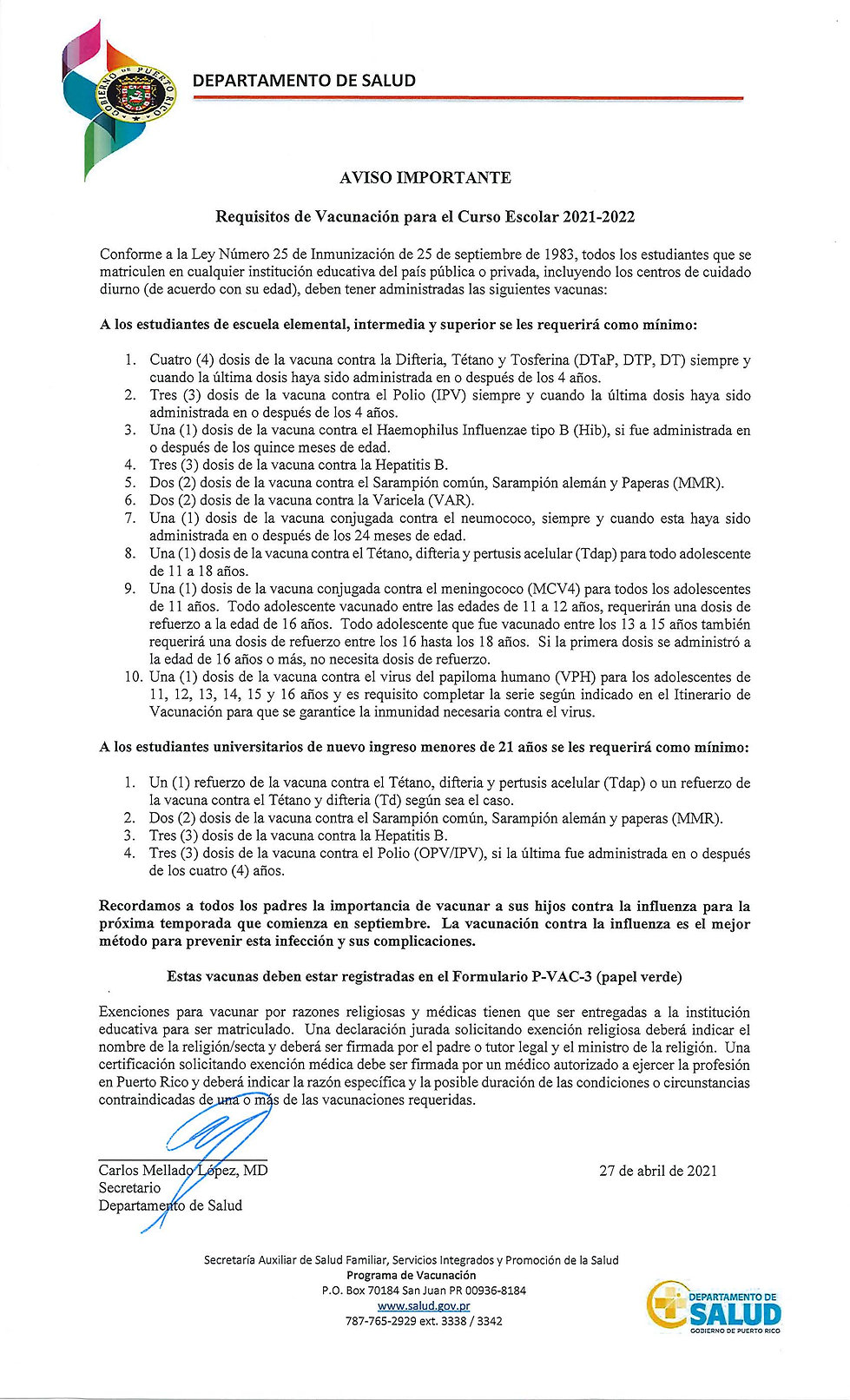 Requisitos de Vacunación para el Curso Escolar 2021-2022
