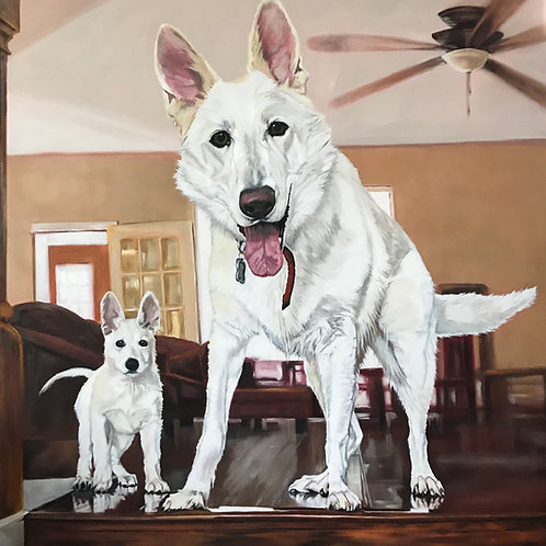 Two White Pups Commission