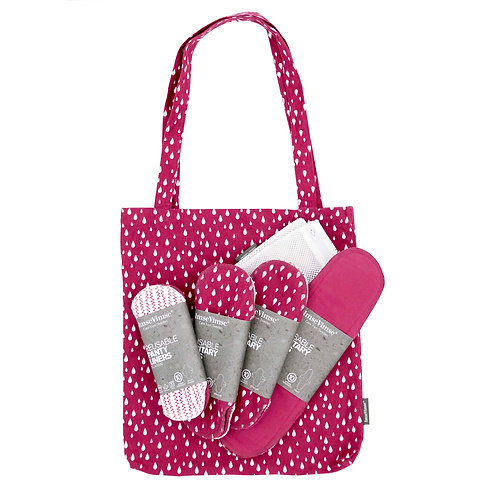 Starter Pack Eco Pads - 3 Liners, 6 Day, 3 Night, Tote Bag, Wash Bag