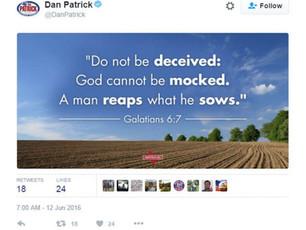 Texas Lt Gov. Dan Patrick Must Resign Over Anti-LGBT Tweets in Wake of Club Shooting