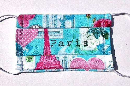 Light Blue Paris Print Face Mask