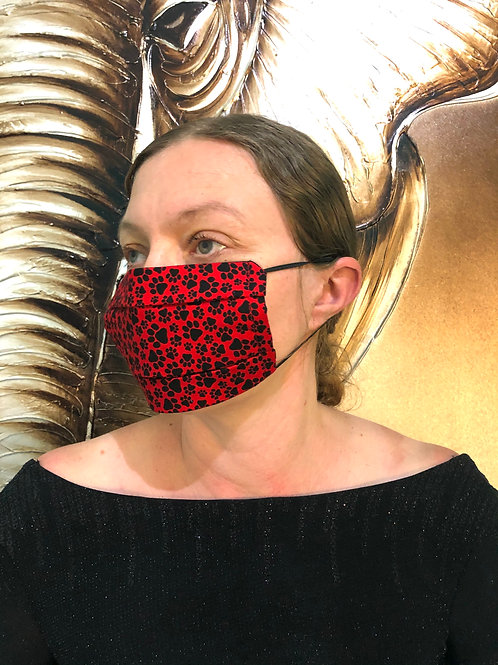 Red & Black Paw Print Face Mask