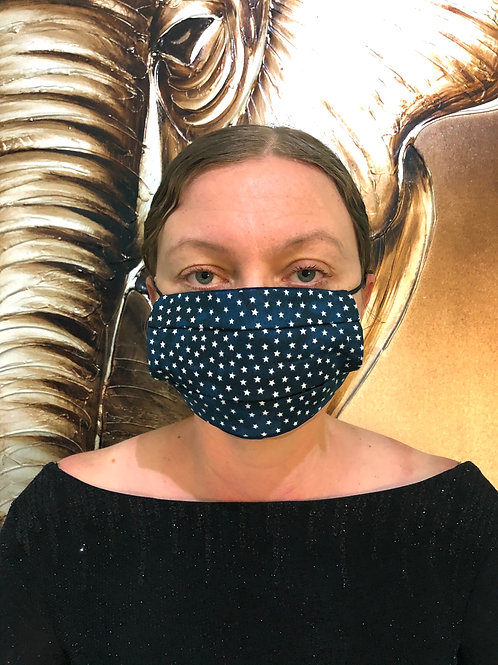 Dark Blue Star Print Face Mask