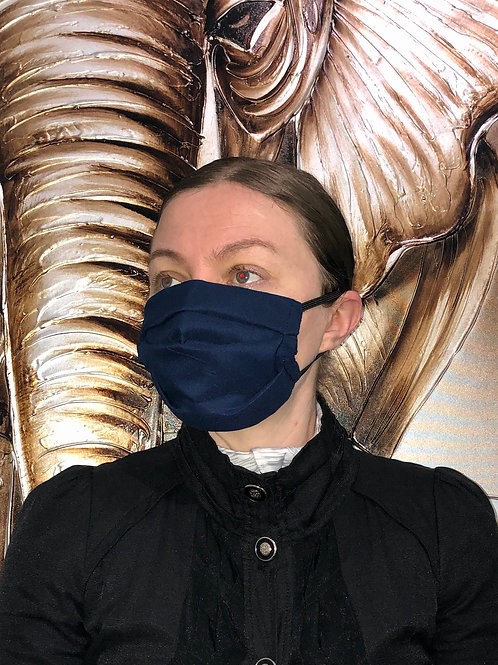 Solid Dark Blue Face Mask