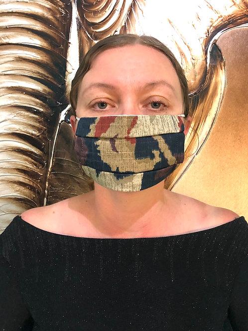 Dark Blue Camouflage Print Face Mask