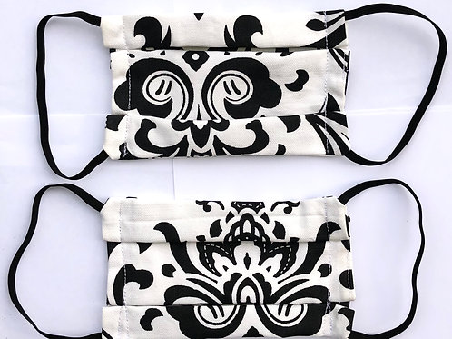 Royal Black and White Print Face Mask